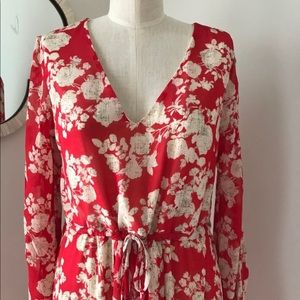 Anthropologie  Red Floral dress